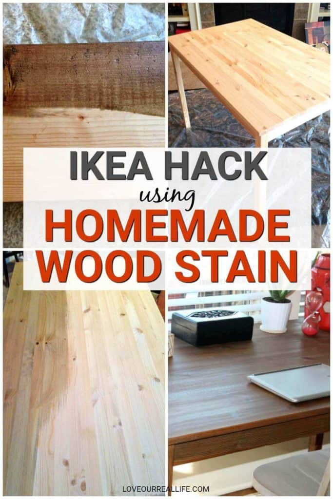 IKEA hack using homemade wood stain.