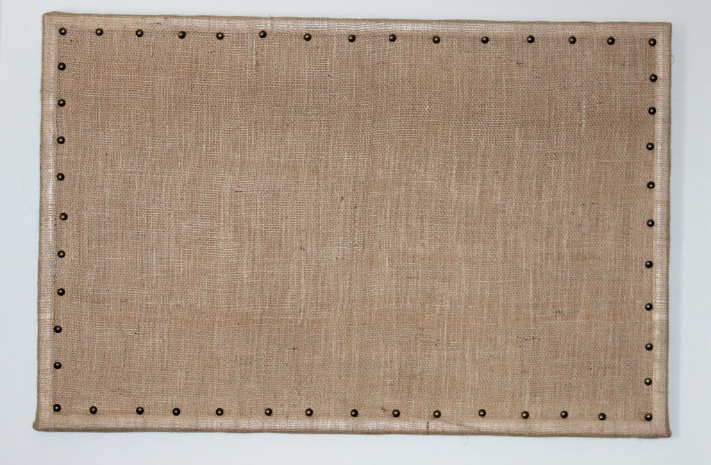 DIY Burlap bulletin board with upholstery tacks - after