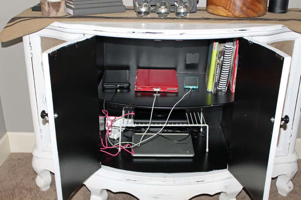 charging station, charging station in cabinet, repurpose cabinet to store electronic devices, electronic devices storage