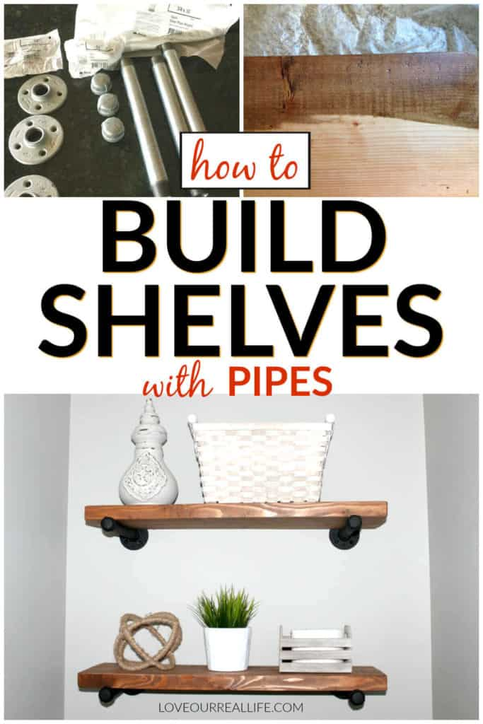 How to build wood shelves with pipes