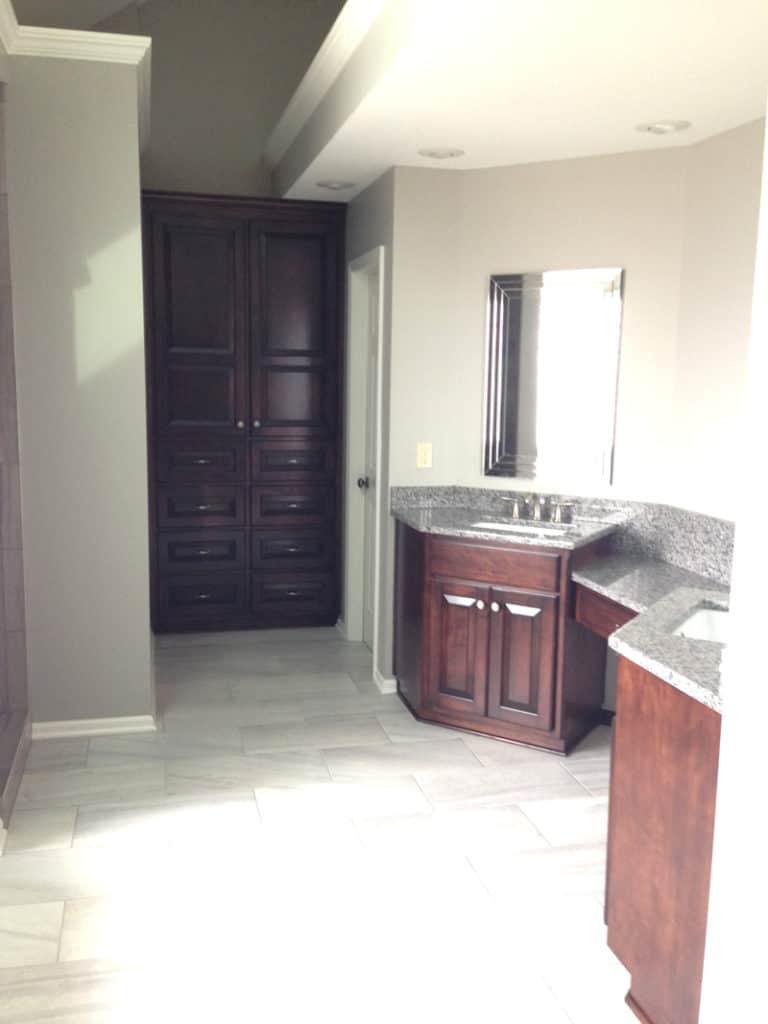 master bathroom renovation, bathroom remodel, gray master bathroom with espresso cabinets