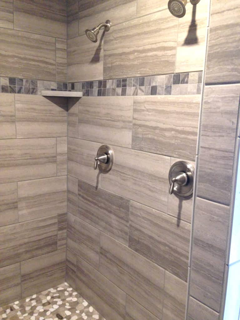 master bathroom remodel, gray shower tiles with stone floor, master bathroom renovation