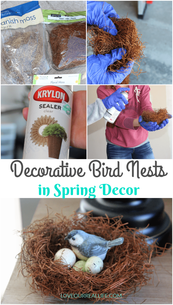 DIY decorative birds nests for spring decor