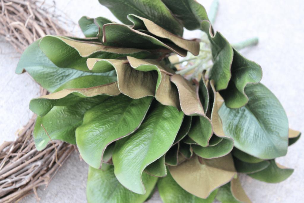 Faux magnolia leaves close up