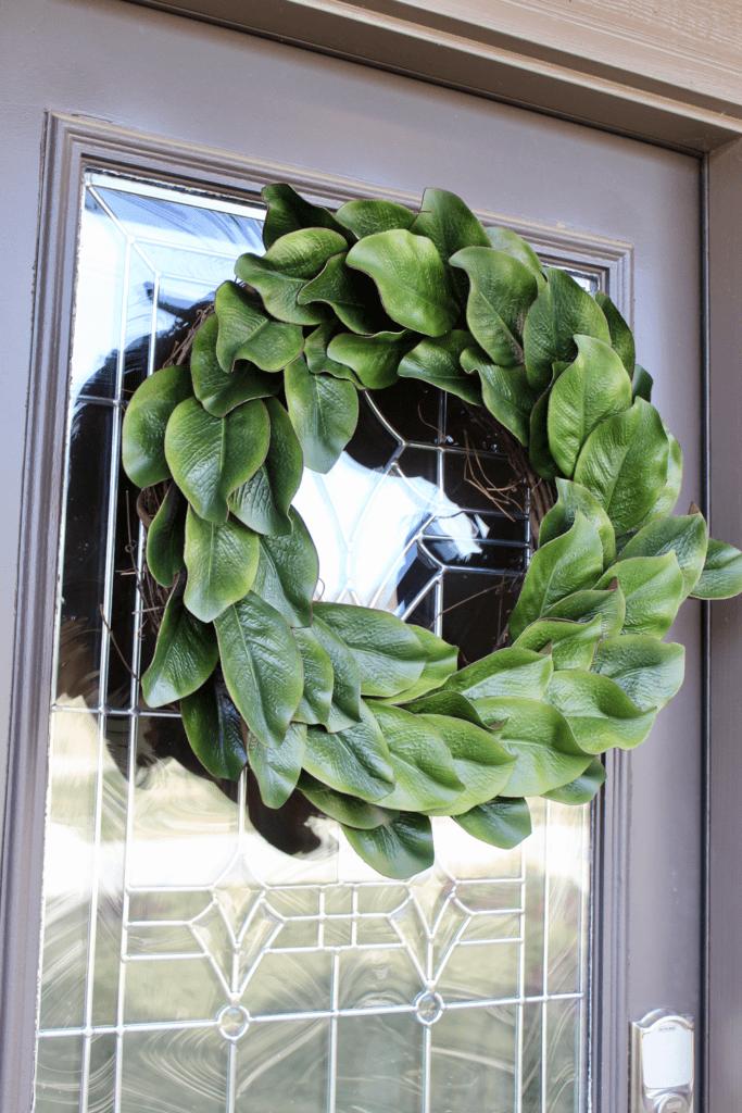 Leaf Wreath on an exterior dark brown front door