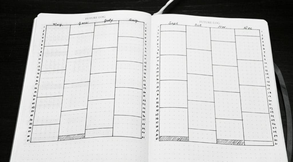 Bullet journal birthday and anniversary calendar