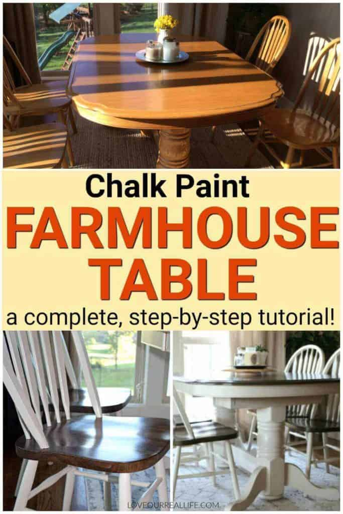 Chalk paint farmhouse table tutorial.