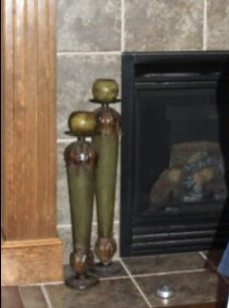 Green candlesticks prior to painting gray.