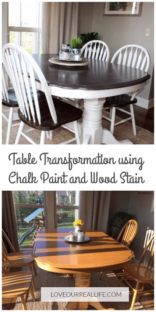 Kitchen Table Makeover Using Chalk Paint And Wood Stain Love Our Real Life