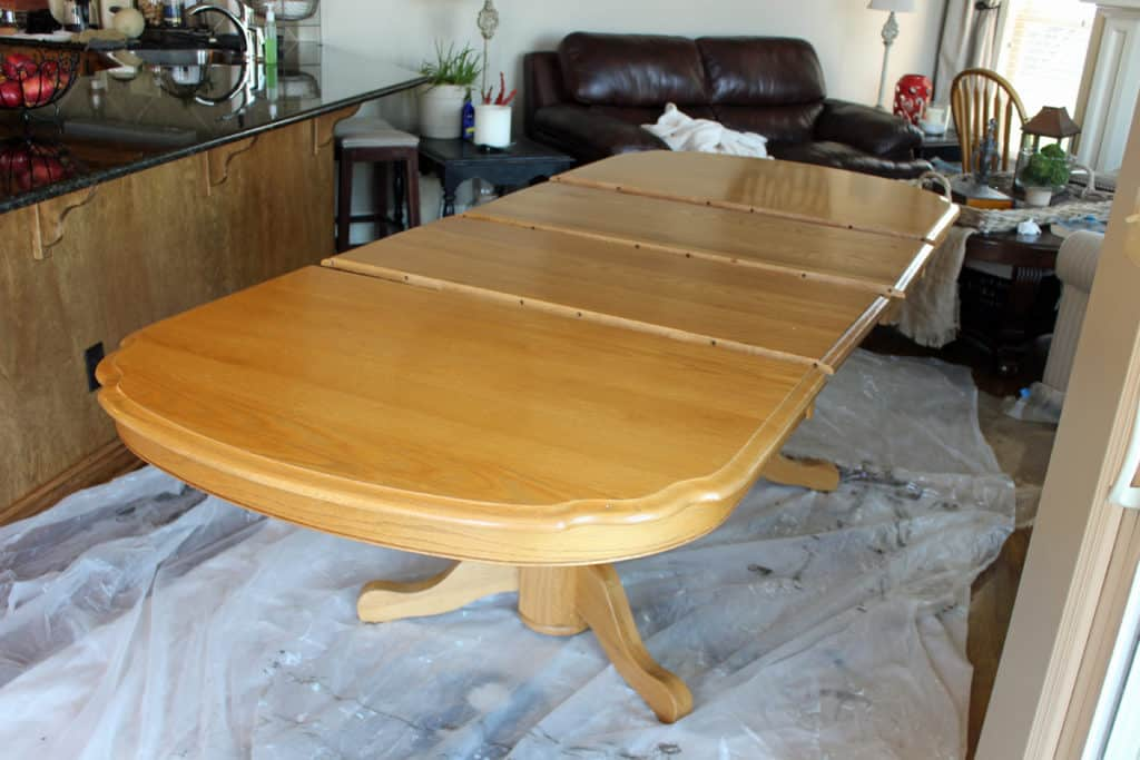 Oak kitchen table with leaves just prior to painting