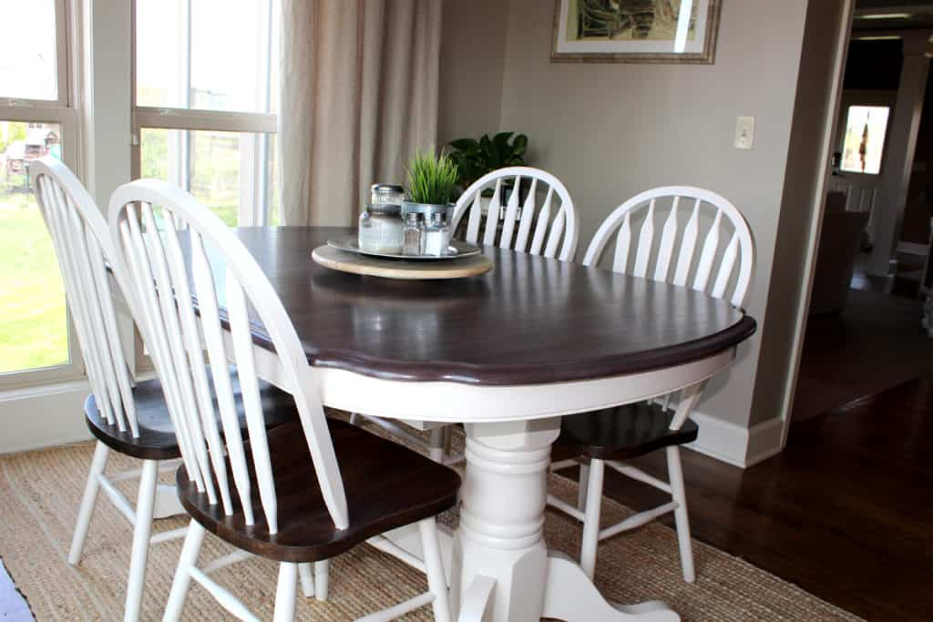 Kitchen table transformation using chalk paint and wood stain, kitchen table makeover after picture