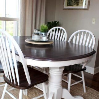 Kitchen table transformation using chalk paint and wood stain, kitchen table, paint kitchen table, stain dining table, paint dining table