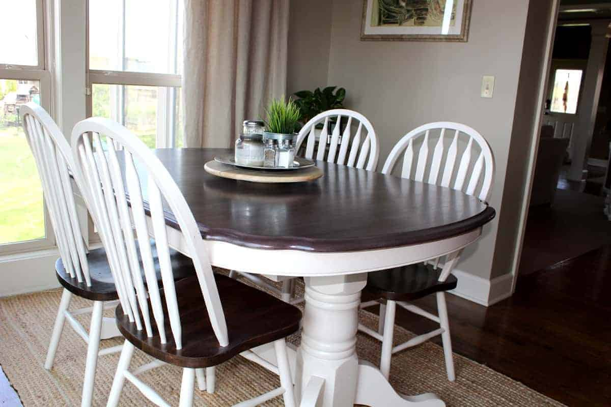 Kitchen Table Transformation Using Chalk Paint And Wood Stain Makeover