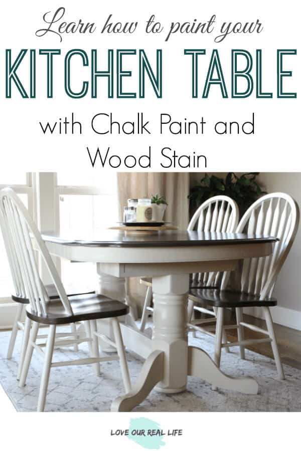 White chalk painted kitchen table with dark walnut stained top surface.