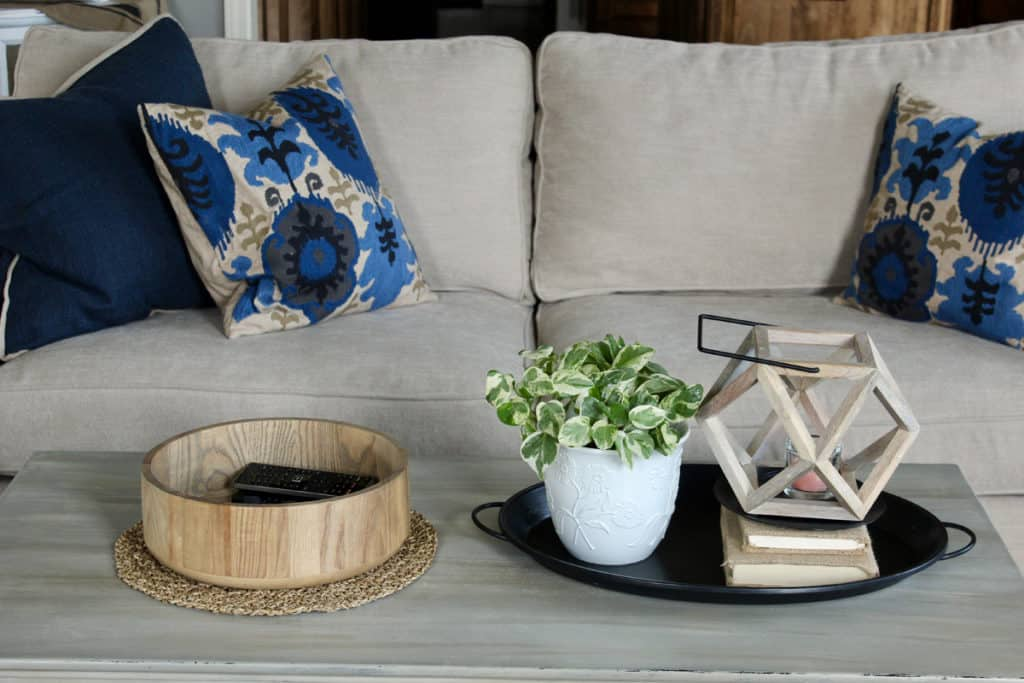 coffee table vignette with wooden bowl, tray, books, and plant.