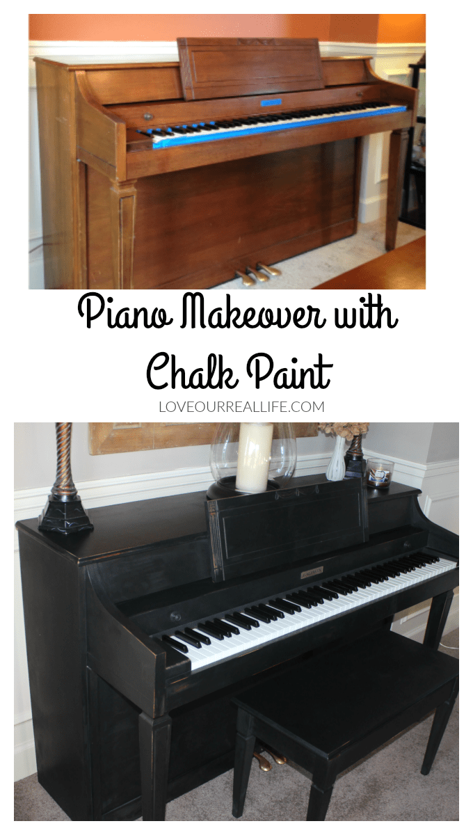 Piano Makeover, Piano makeover with chalk paint, Black chalk paint