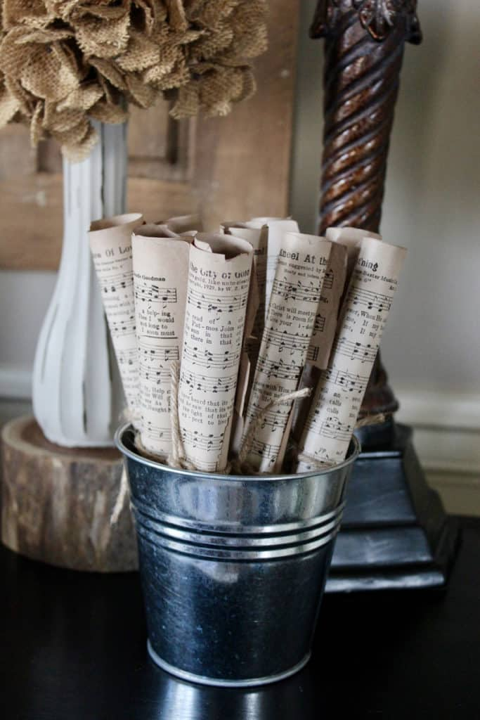 Music sheets in decor