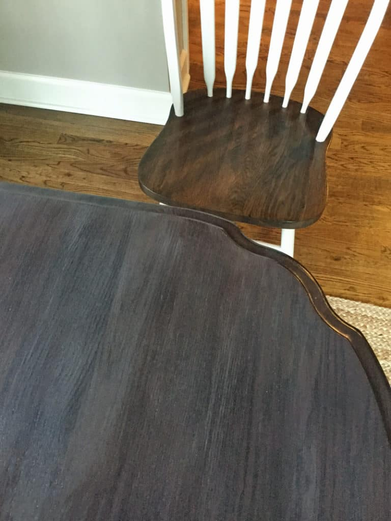 Tea and vinegar stain on table top and dark walnut stain on chair