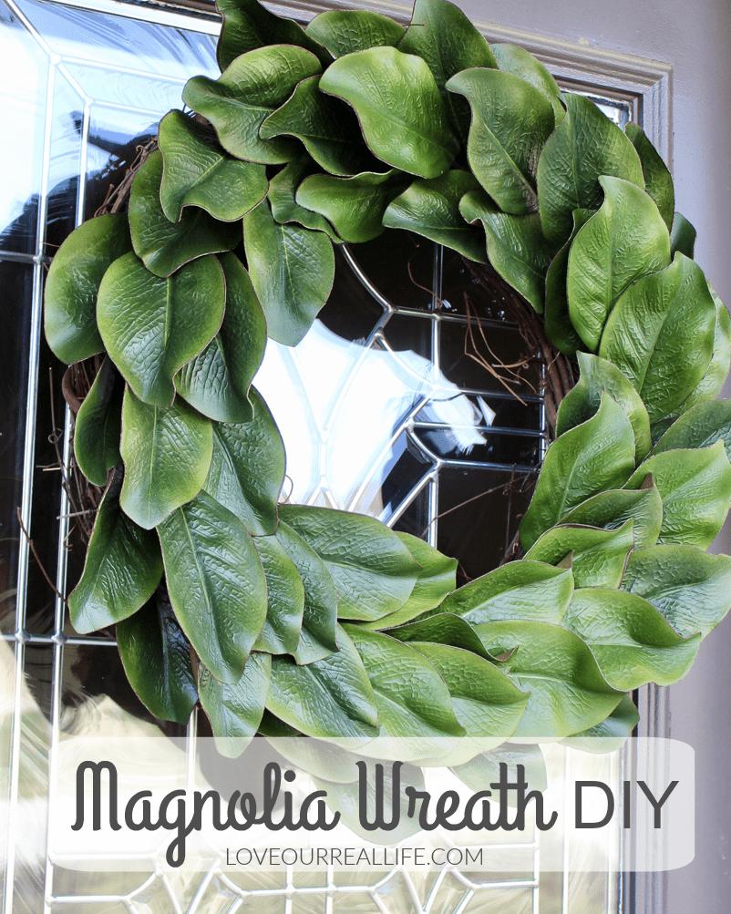 faux magnolia wreath DIY