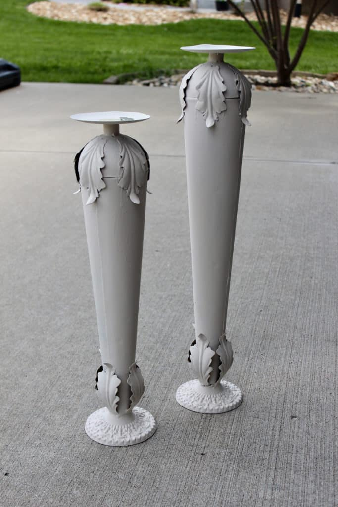 White chalk paint on candle sticks was too boring./