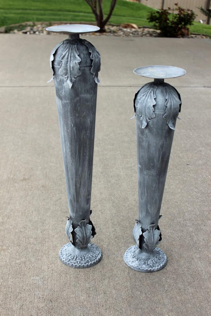Candlestick makeover with paint.