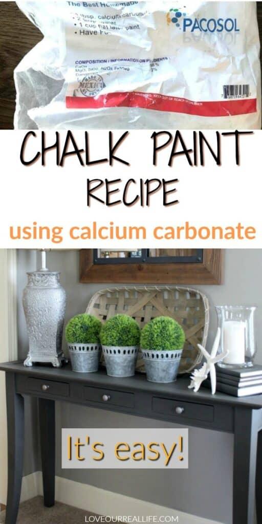 Chalk paint recipe using calcium carbonate