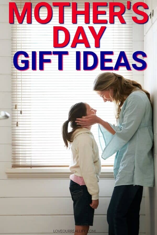 "Mother and daughter standing by window with text overlay ""Mother's Day gift ideas"""