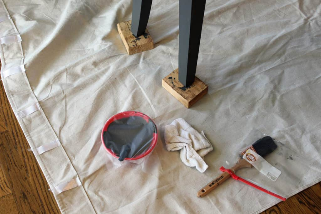 When painting, protect floor with drop clothes; paint brushes with Glad Press N Seal between coats.