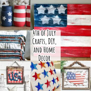 Collage of various 4th of July diys and crafts.