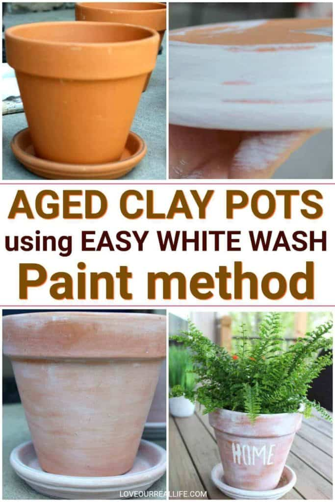 Aged clay pots using white wash paint method
