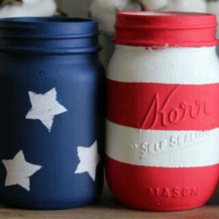DIY 4th of July Home Decor using Mason jars painted like the American Flag.