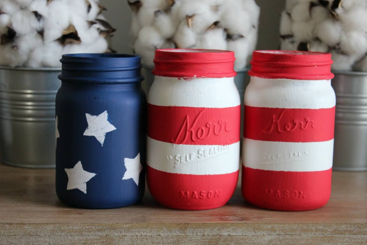 4th of July Mason Jars painted red, white and blue like the American Flag.