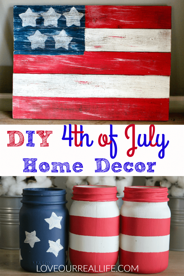 Mason jars American flag and wooden sign with American flag for DIY homemade 4th of July decorations.