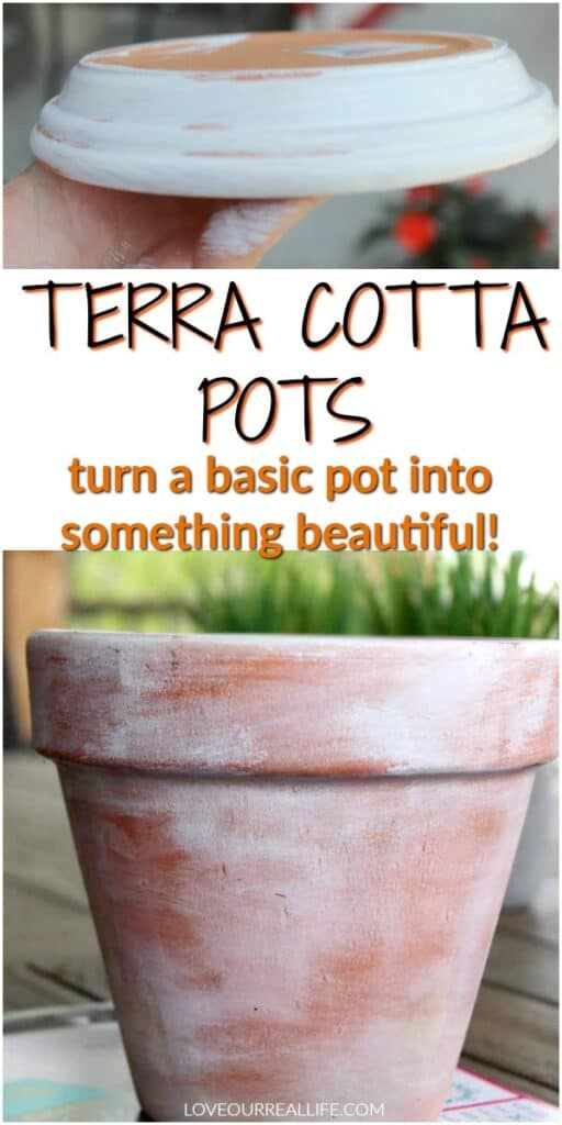 Terra cotta pots - how to whitewash and distress