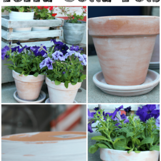 This step by step tutorial will show you how to white wash terra cotta pots to give them a beautiful aged look. Click through to read more!
