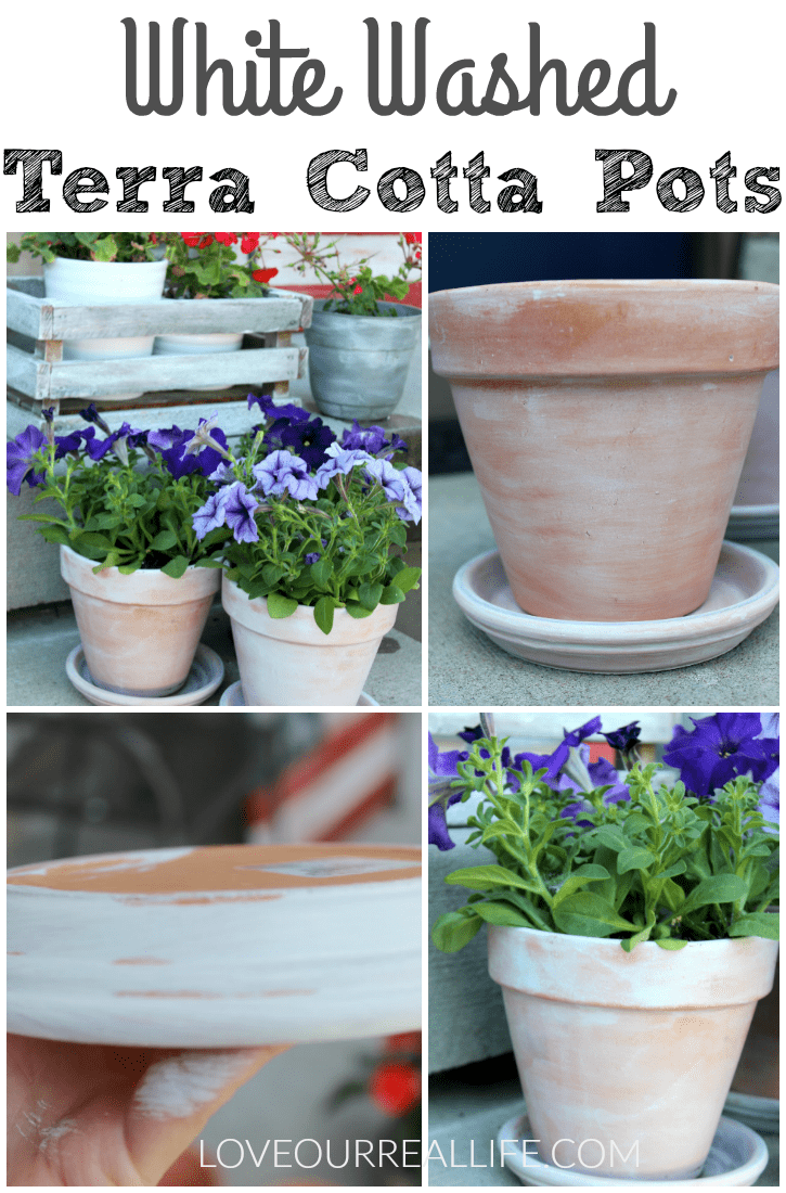 White washed terra cotta pots for a distressed, aged planter.