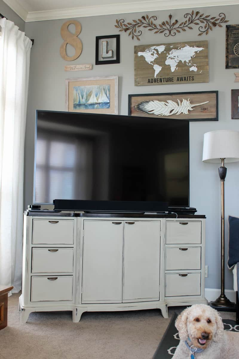 Repurposing a buffet turned media cabinet media center, painting furniture, before and after furniture makeover