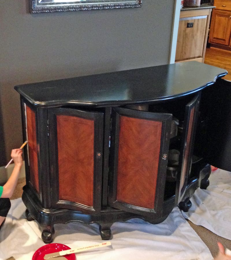 Transforming a piece of furniture into a charging cabinet using white and coco chalk paint
