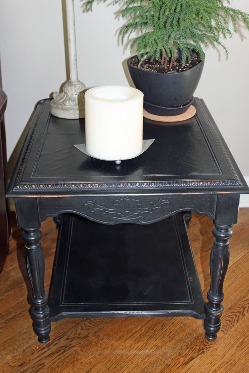 Black chalk paint used to paint end tables