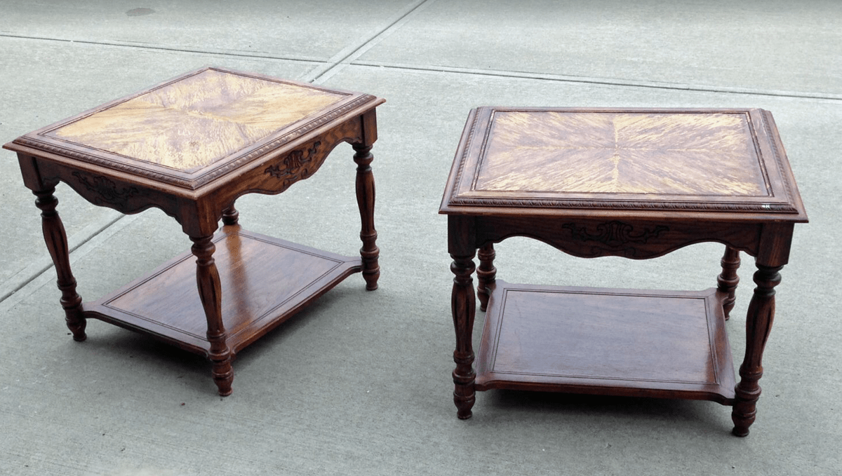 Beat up, old end tables prior to black chalk paint