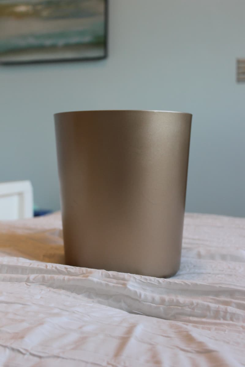 Spray paint trash can gold, tween girl bedroom makeover