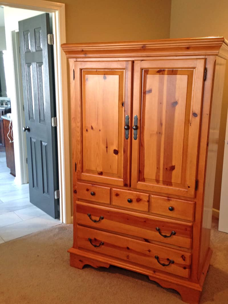 Knotty pine furniture makeover, before and after