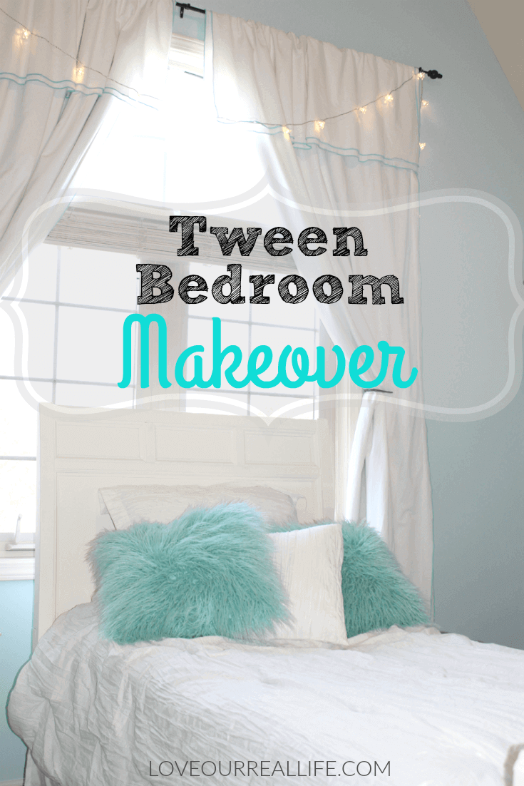 Tween bedroom makeover using Open Air Blue by Sherwin Williams