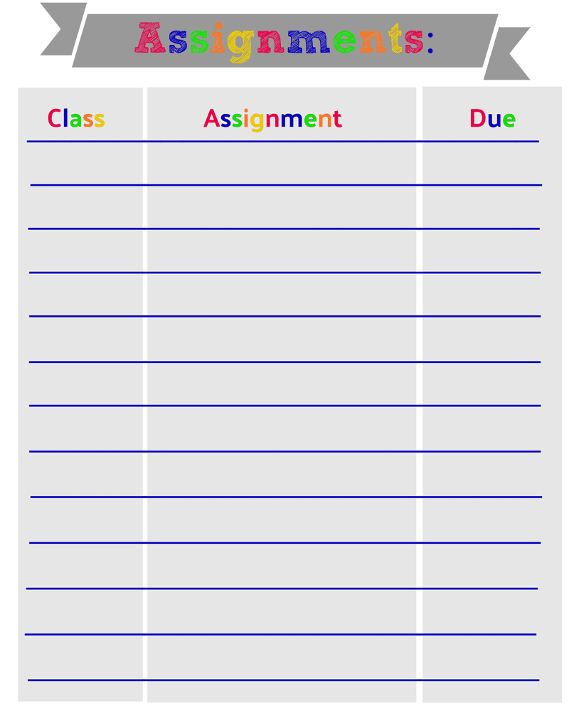 School printables, back to school organization, tracking class assignments, printable for class assignments