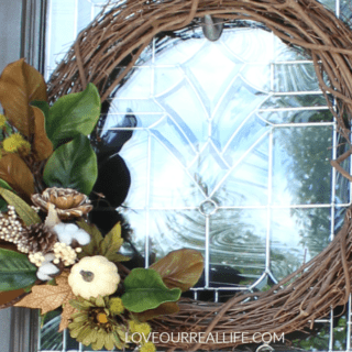 DIY Fall Wreath for front door, fall wreath, DIY wreath, grape vine wreath, neutral fall wreath