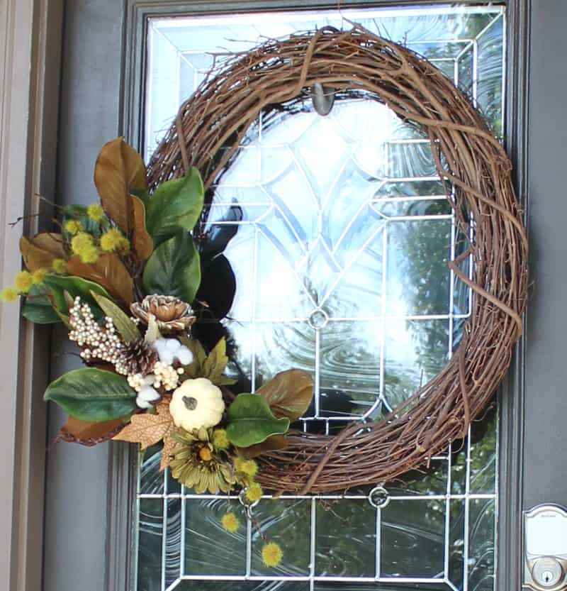 DIY fall wreath for front door, DIY fall front door wreath, DIY wreath with grape vine wreath