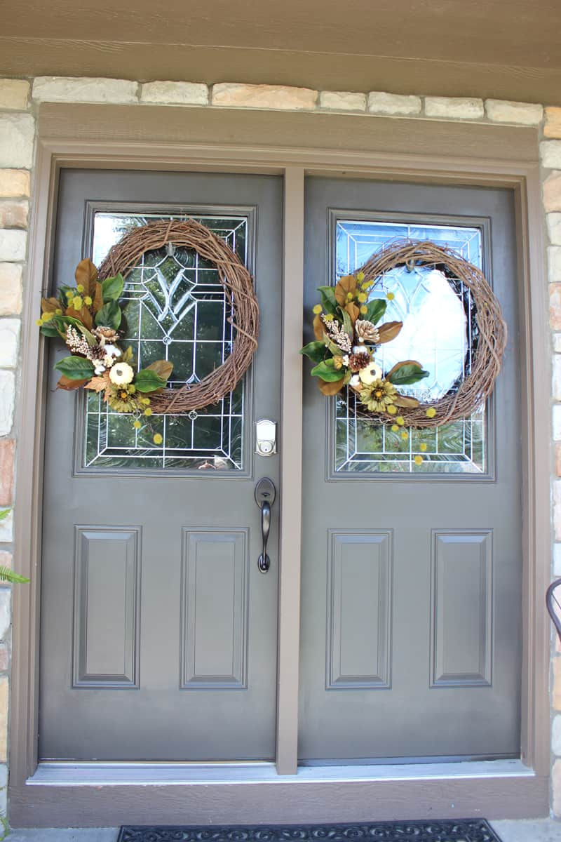 DIY fall wreath for the front door, double wreaths on front doors, double front door wreaths, neutral fall wreaths