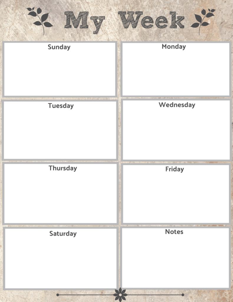 Weekly calendar, free weekly calendar, free printable calendar, free printable weekly calendar