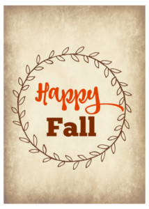 Happy Fall 5x7 printable, fall printable