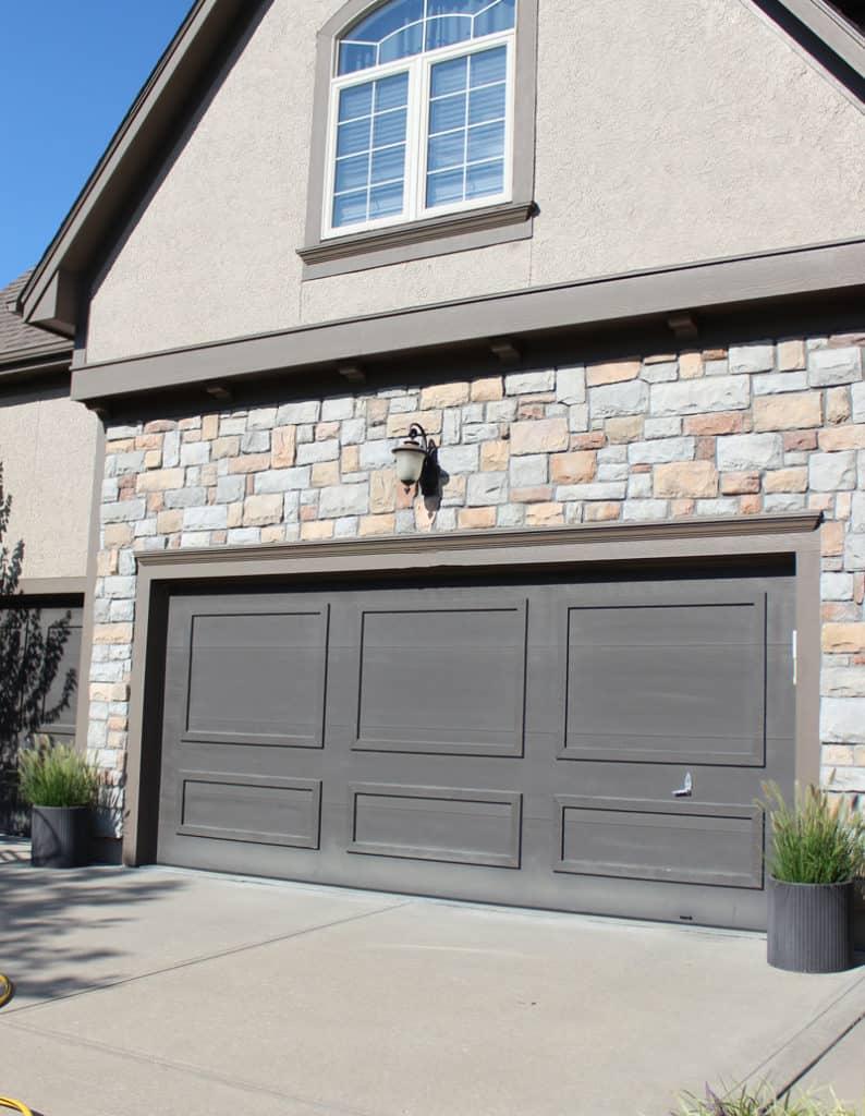 Painting a garage door a dark color - Urbane Bronze